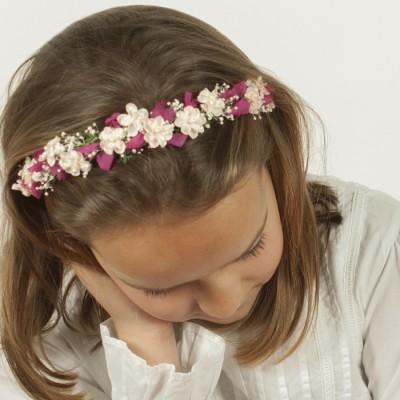 Diademas de flores fucsia para ni as boda flor - Diademas de flores para nina ...